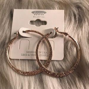 Jewelry - 💕NWT💕ROSE GOLDTONE HOOP EARRINGS